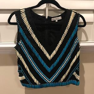 Karina Grimaldi Beaded Top — S